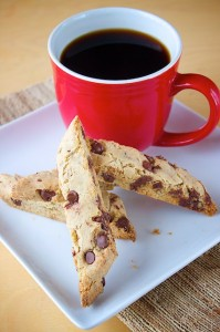 This biscotti is just like a chocolate chip cookie... except it won't fall apart if you decide to dunk into your cuppa Joe.